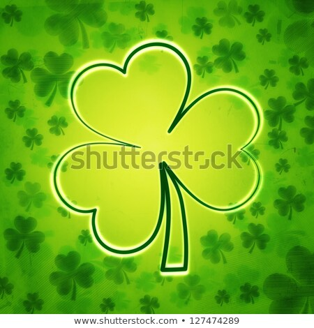 striped shamrocks and contours in green old paper background Stock photo © marinini