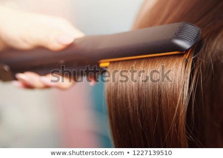 Saç kadın kablo plaka siyah beyaz Stok fotoğraf © cheyennezj