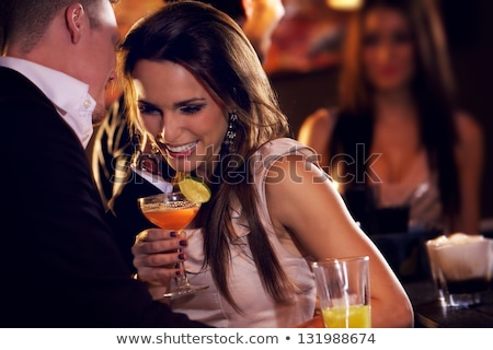 mooie · vrouw · cocktail · bar · portret · meisje · restaurant - stockfoto © luckyraccoon