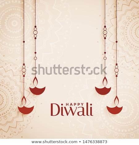 Diwali çiçek dizayn sanat yağ lamba Stok fotoğraf © rioillustrator