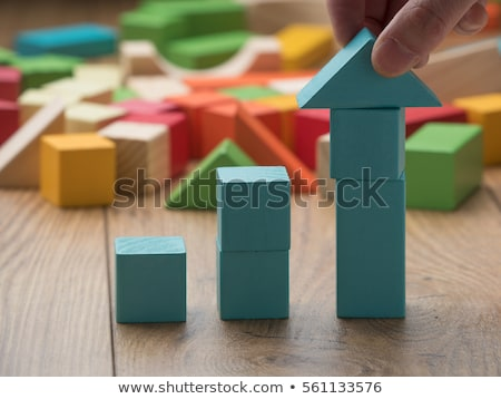 child with tower made of 	toy blocks Stock photo © gewoldi