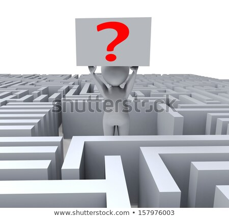 Stock photo: Question Mark In Maze Shows Thinking