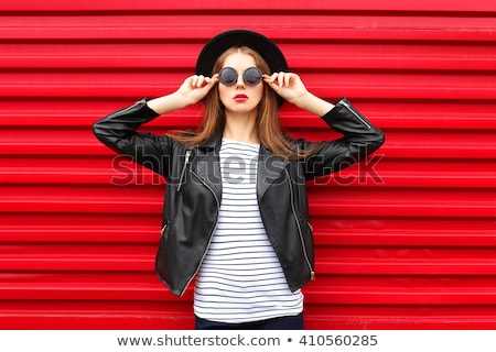 Glamour Fashion Woman Portrait. Elegant girl posing with black m Stock photo © Victoria_Andreas