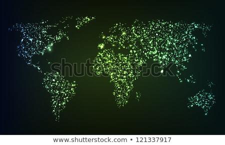 abstarct world map green blue dots vector stock photo © beaubelle