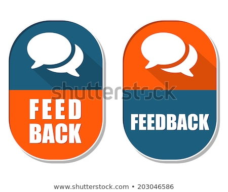feedback and speech bubbles signs, two elliptical labels Stock photo © marinini