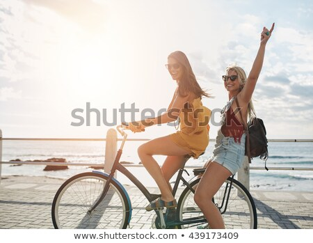 Two bicycles on the seaside Stock photo © simply