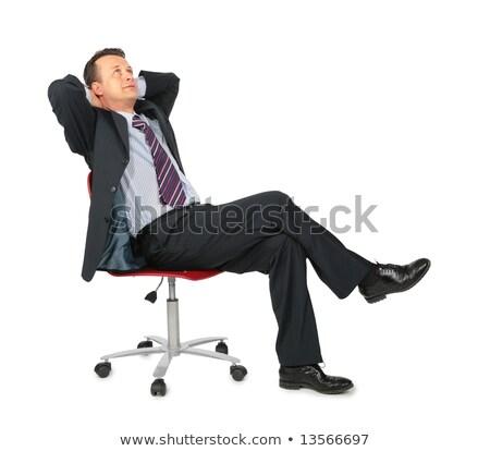 Elegáns üzletember ül zsámoly gondolkodik teljes alakos Stock fotó © feedough