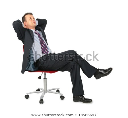 Elegante zakenman vergadering kruk denken Stockfoto © feedough