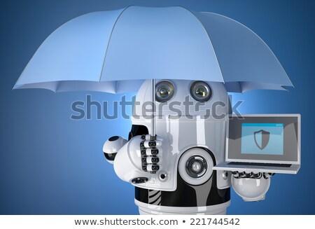 android · robot · laptop · esernyő · biztonság · izolált - stock fotó © kirill_m