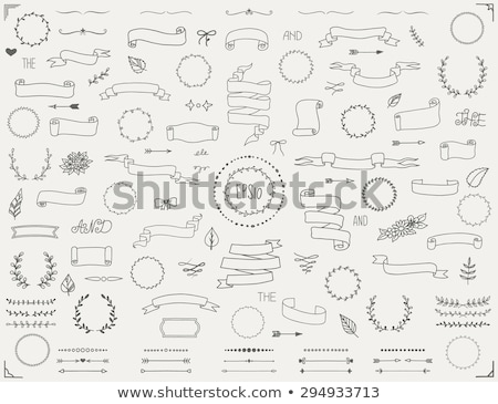 Hand drawn collection of decorative wedding design elements. Holiday objects and signs with Silver d stock photo © netkov1