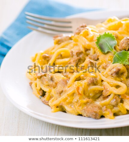 spaghetti cream sauce with sausage Stock photo © netkov1