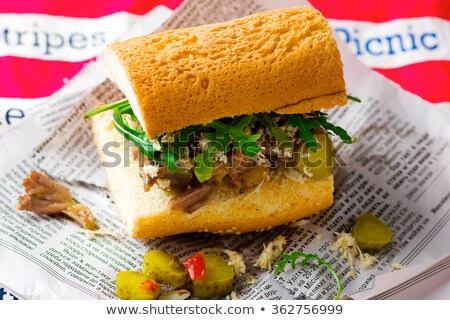 Sandwich With Stewed Beef And Horse Radish Stok fotoğraf © zoryanchik