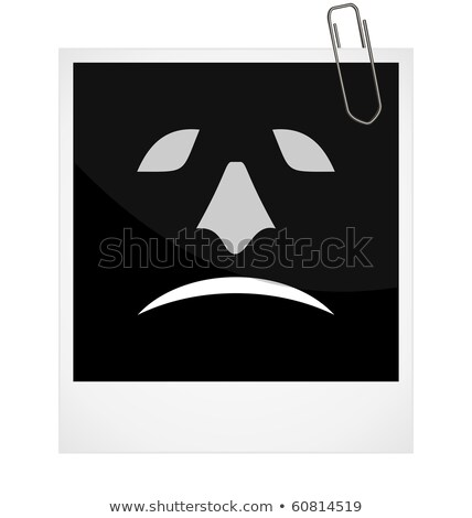 realistic illustration photoframe with malicious smile stock photo © smeagorl