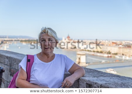 blonde tourist phoning home from Europe Stock photo © Giulio_Fornasar