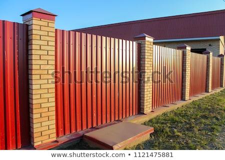 Kerítés terv bokor téglák illusztráció fal Stock fotó © bluering