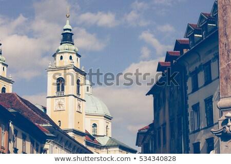один центральный улиц город Словения Церкви Сток-фото © m_pavlov