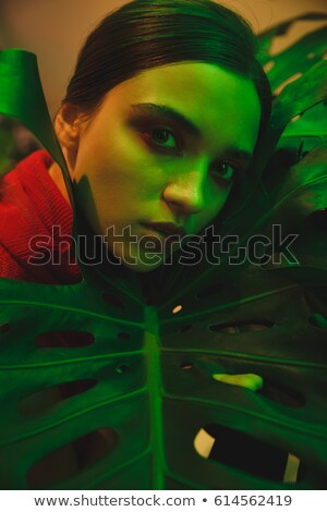 Close up portrait of young woman lying on large leaf Stock photo © deandrobot