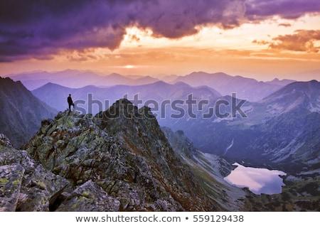 Turysta patrząc Świt niebo człowiek charakter Zdjęcia stock © IS2
