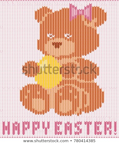 Happy Easter knitted teddy bear greeting card , vector illustration Stock photo © carodi