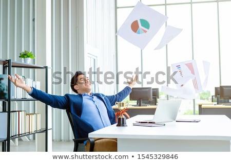 Asiático empresário negócio terno em pé couro Foto stock © studioworkstock
