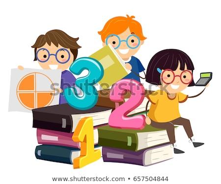 Kinder Buch math Illustration Sitzung Stock foto © lenm