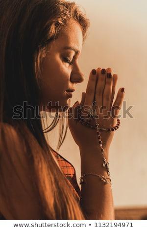 Dua eden genç kız genç kadın gri parlak sarı Stok fotoğraf © ra2studio