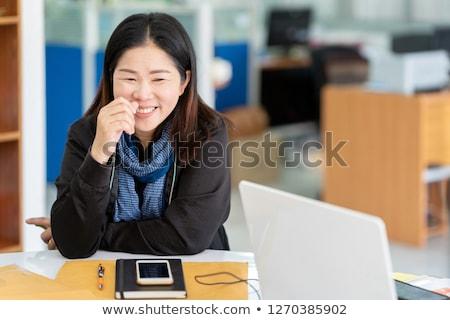 молодые · черную · женщину · сидят · шарф · свитер - Сток-фото © Stasia04