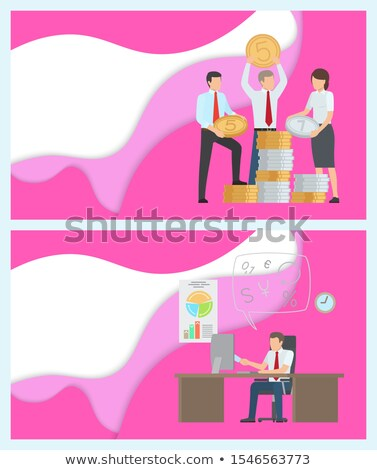 Online Business and Finance Assistance Posters Set Stock photo © robuart