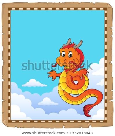 Drago cinese argomento pergamena carta nube cinese Foto d'archivio © clairev