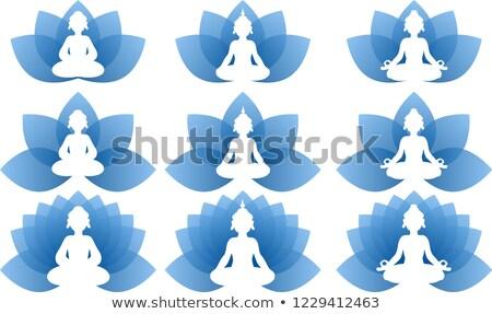 Buddha · kék · lótusz · búcsú · szett · logo - stock fotó © Blue_daemon