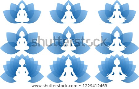 Buddha bleu Lotus logo Photo stock © Blue_daemon