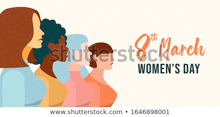 Womens Day 8th March web banner of diverse girls Stock photo © cienpies