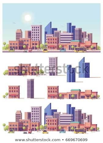 Set scena urbana illustrazione cielo casa costruzione Foto d'archivio © colematt