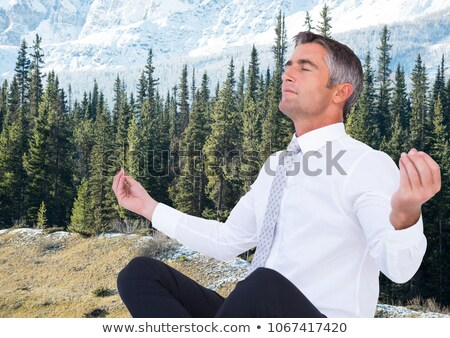 meditáció · jóga · férfi · meditál · kint · tenger - stock fotó © wavebreak_media