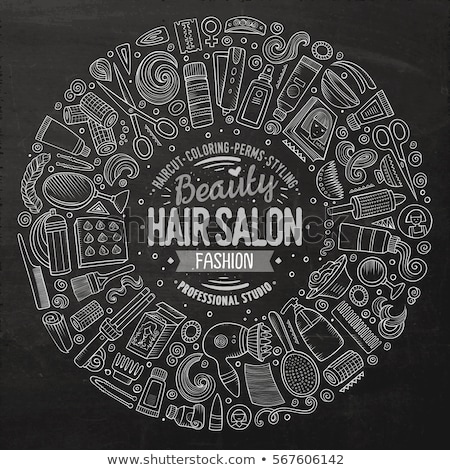 Set of Hair salon cartoon doodle objects Stock photo © balabolka
