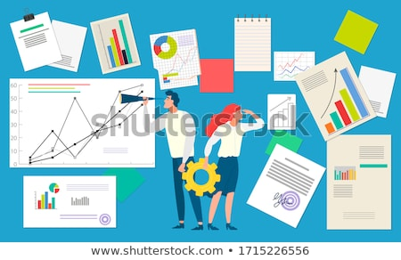 Businesslady with Cogwheel and Board with Chart Stock photo © robuart