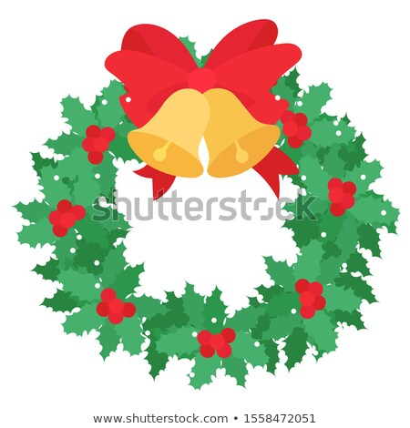 Wreath for Xmas Made of Bell, Ribbon and Mistletoe Stock photo © robuart