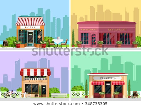 Coffee House Restaurant with Cityscape Vector Stock photo © robuart