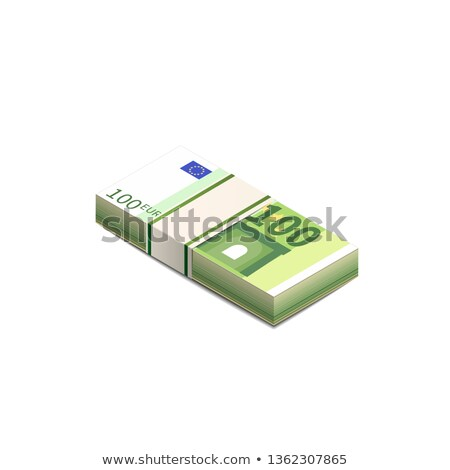 Bright one hundred euro banknotes in stack in isometric view, pile notes on white Stock photo © evgeny89