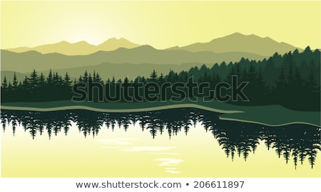 Egyszerű vektor tájkép sziluettek fák hegyek Stock fotó © robuart