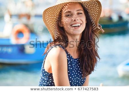 portré · fiatal · lány · szalmakalap · tart · útlevél · repülés - stock fotó © stryjek