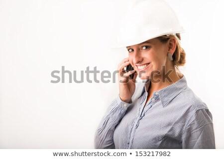 jonge · bouwvakker · Rood · shirt · Geel - stockfoto © wavebreak_media