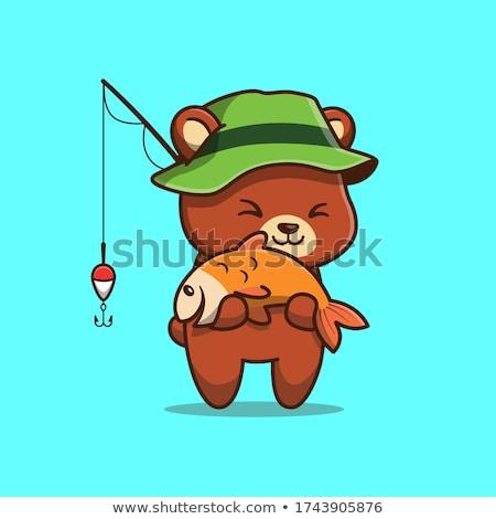 Бурый медведь еды профиль яблоко Sunshine Сток-фото © KMWPhotography