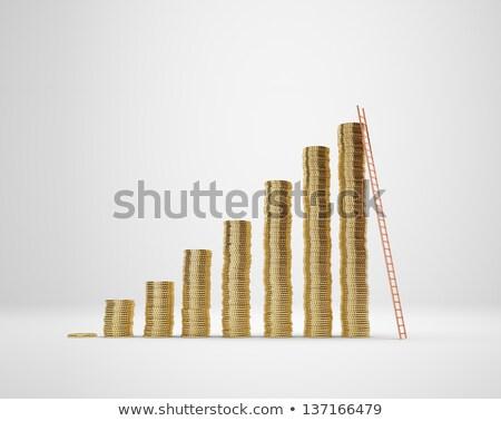 Palce spaceru w górę monet odizolowany wzrostu Zdjęcia stock © Len44ik