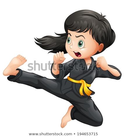 Stock fotó: Energikus · lány · rúgás · logók · nő · test
