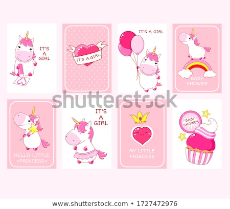 Stock photo: welcome baby girl card with little fairy