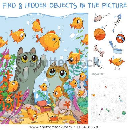 котенка · рыбы · белый · золото · небольшой · глаза - Сток-фото © c-foto