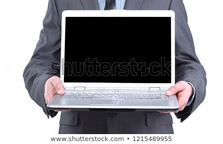 üzletember · tart · nyitva · notebook · öltöny · papír - stock fotó © feelphotoart