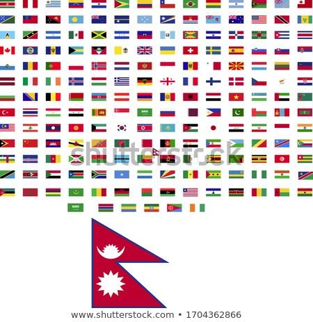 Tér címke zászló Nepál izolált fehér Stock fotó © MikhailMishchenko