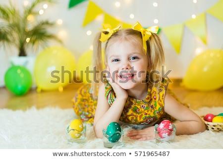 szőke · nő · zöld · ruha · fiatal · pózol · fehér - stock fotó © dashapetrenko